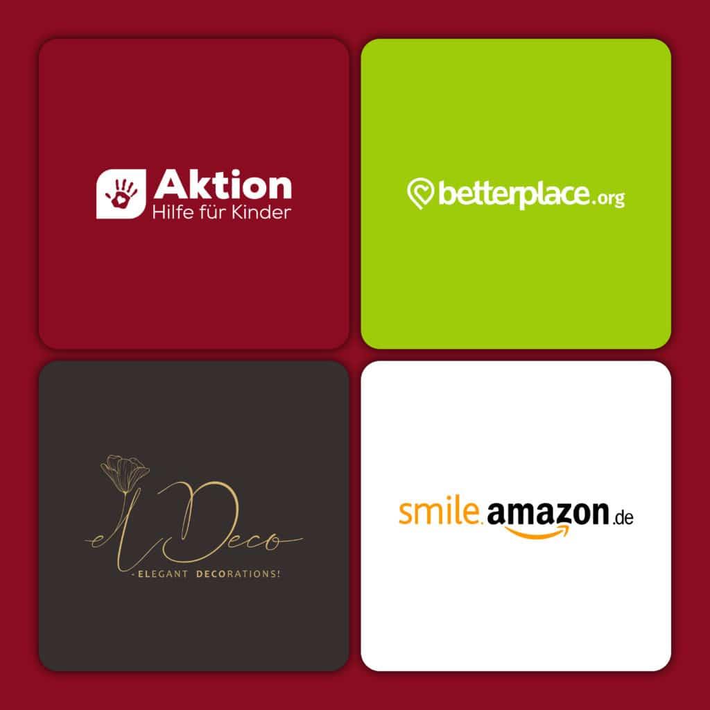 In Quadraten sind die Logos von Aktion HIlfe für Kinder, smileamazon.de, betterplace.org und elDeco.
